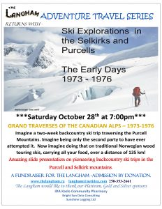 Langham Adventure Travel Series kicks off with Ski Explorations in the Purcells and Selkirks – 1973-1976 @ Langham Cultural Society