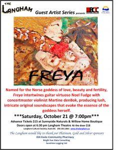 The Langham presents FREYA Saturday October 21st 7pm. @ Langham Cultural Society