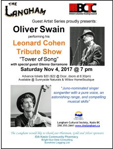 The Langham presents Oliver Swain's LEONARD COHEN TRIBUTE Saturday November 4th 7pm. @ Langham Cultural Society